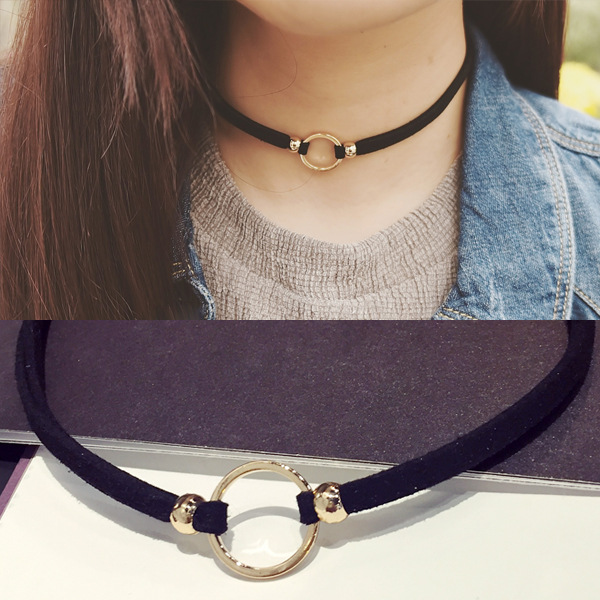 New Fashion Suede Velvet Choker Necklace Black Cord Gold Plated Round Circle Connector Punck Style Gift For Girl Women(China (Mainland))