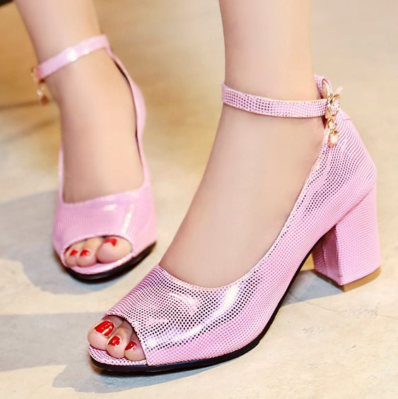 Big size 33-43 New fashion Brand 2015 Summer style Ladies woman shoes Middle heels Peep toe Glitter Buckle Cool Party Gold Pink(China (Mainland))