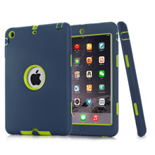 HOT!For iPad mini 1/2/3 Retina Kids Safe Armor Shockproof Heavy Duty Silicone Hard Case Cover free Screen protector film+stylus(China (Mainland))
