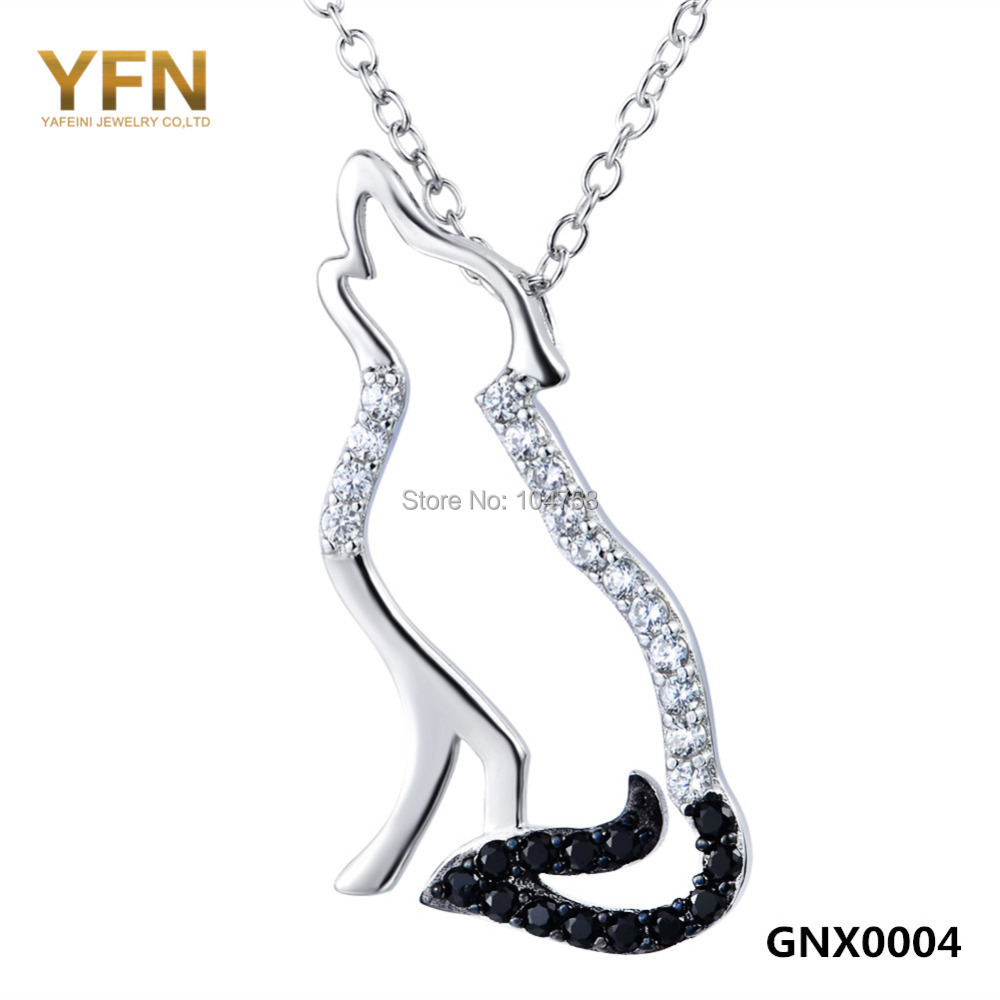 GNX0004 Genuine 925 Sterling Silver Animal Pendant Necklace Fashion Jewelry Black and White Cubic Zircon Wolf Necklace 18inches(China (Mainland))