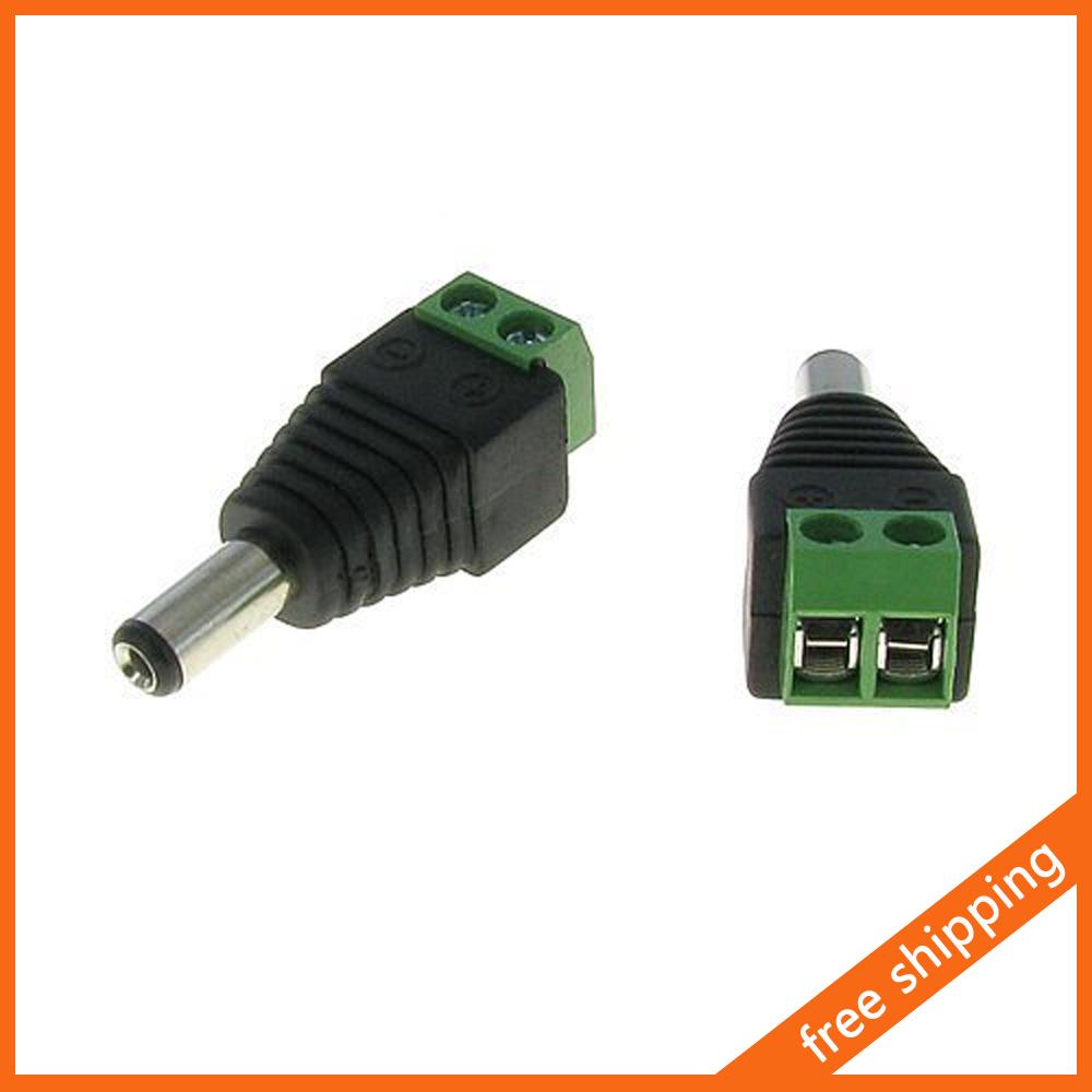 5.5mm x 2.1mm Male CCTV Power Plug Jack Adapter Camera Video Balun Connector 500pcs/lot Wholesale(China (Mainland))