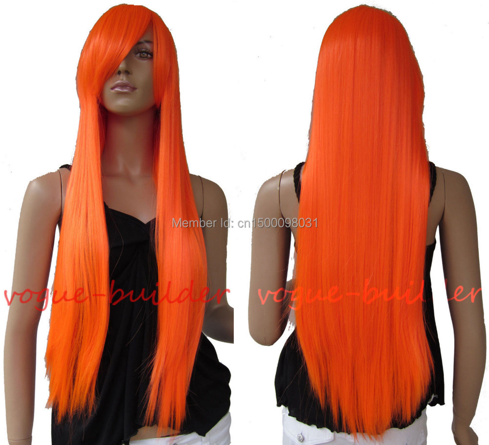 FREE P&P>>>>>>75cm 30 inch Long Bright Orange Straight Cosplay Party Hair Wig(China (Mainland))