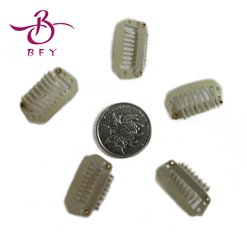 100pieces/LOT 8 teeth hair Clips- hair pin for Remy Hair Extensions/wig/weft 28mm long Dark Brown color<br><br>Aliexpress