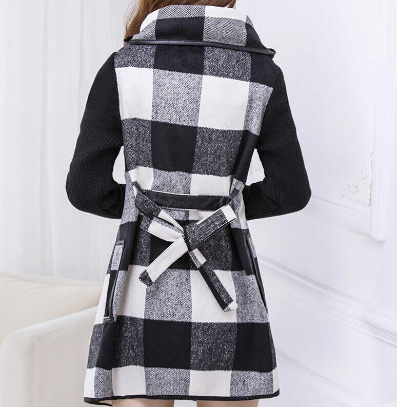 Sens лучшие качества женщин свободного покроя длинные плащи новый 2015 осень и зима мода плед шерсть рукавом лоскутная верхняя одежда A202