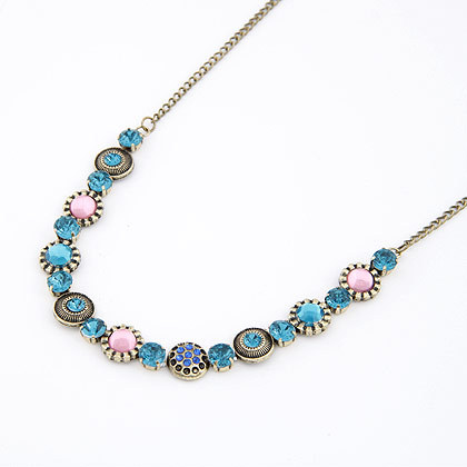Vintage Women Jewelry Exquisite Gorgeous Cubic Zircon Diamond Collar Bohemia Rhinestone Crystal Gem Necklaces&Pendants A467(China (Mainland))