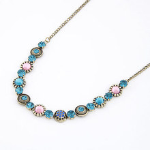 Vintage Jewelry Exquisite Gorgeous Cubic Zircon Diamond Collar Bohemia Rhinestone Crystal Gem Flower Necklaces&Pendants A467