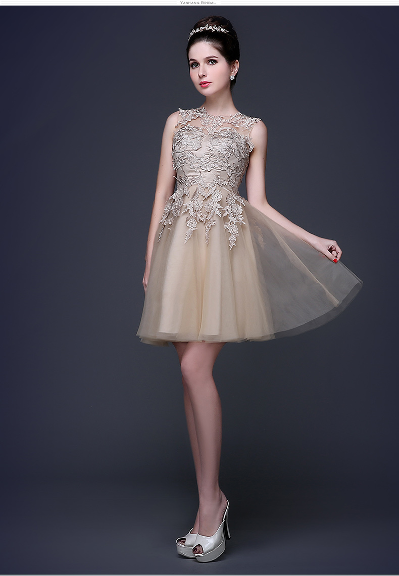 2016 champagne gold formal short lace appliques bridesmaid for Maid of honor wedding dresses