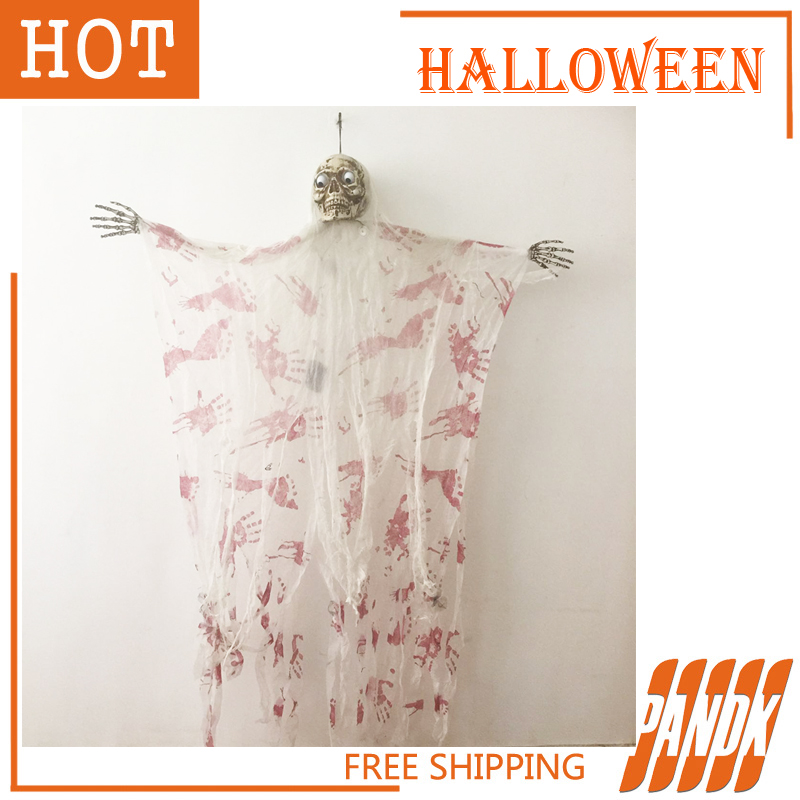Halloween Ghosts Hanging Reaper SKULL Head Zombie haunted house decoration Halloween props acoustic skeleton bloody Skull(China (Mainland))