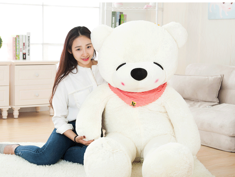 big plush squinting white teddy bear toy huge bear doll gift about 160cm(China (Mainland))