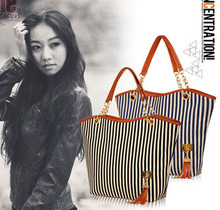 100PCS/lot Striped Shoulder Tote