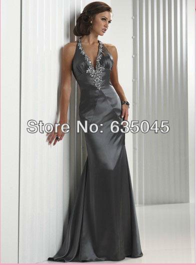 2015 New Crystal Beading Halter Sexy Backless Long Evening Dress Robe De Soiree Vestido De Festa