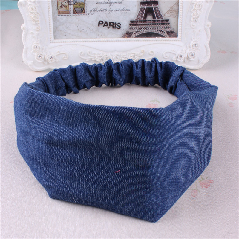 Hairband Korean version of hair ornaments denim cloth headband small fresh hair hoop hand head jewelry wholesale(China (Mainland))