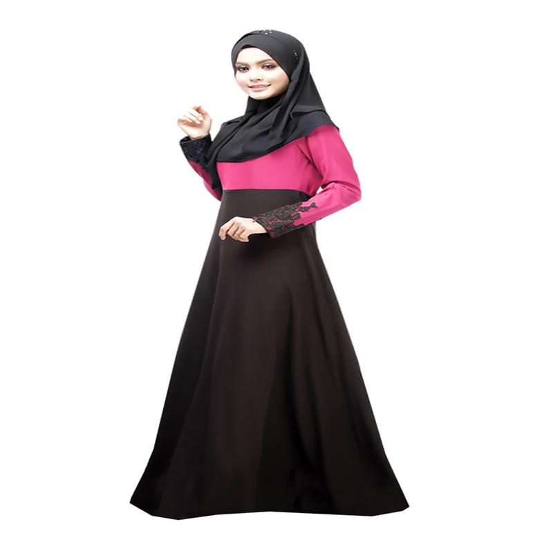 2015 Woman Abaya Turkish Islamic Lace Patchwork Indonesia Clothing Long Sleeve Maxi Casual Fashion Muslim Women Dress Pictures(China (Mainland))