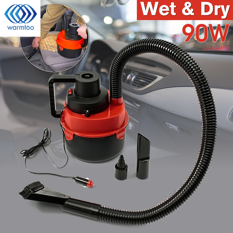 90W DC 12V Portable Wet Dry Canister Outdoor Carpet Car Boat Mini Vacuum Cleaner Air Inflating Pump Red(China (Mainland))