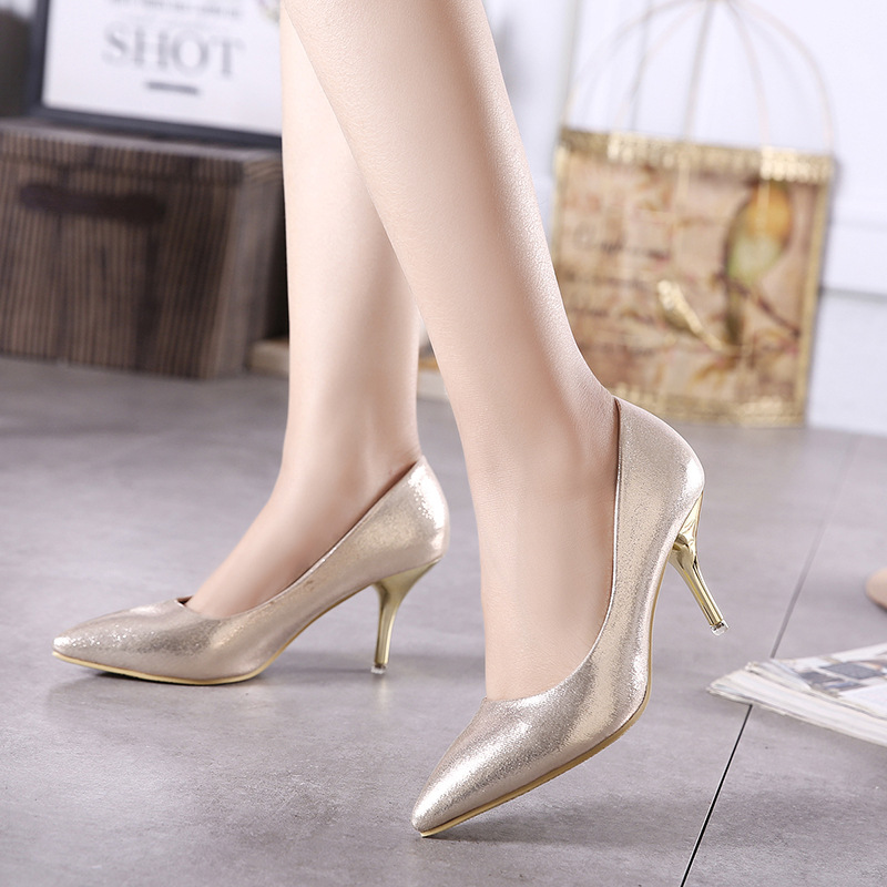 16 new nightclub sexy high-heeled shoes with pointed mouth shallow women's single shoes Genuine leather Pumps