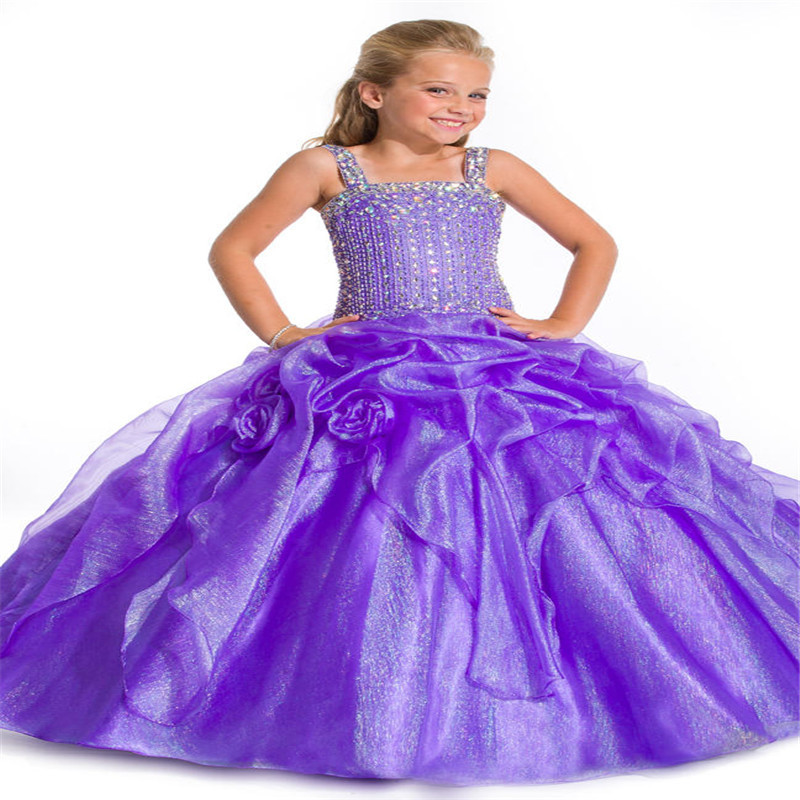 2015 Beading Straps Long Kids Ball Gowns Hand Made Sequins Little Girls Pageant Dresses White Communion Dress(China (Mainland))