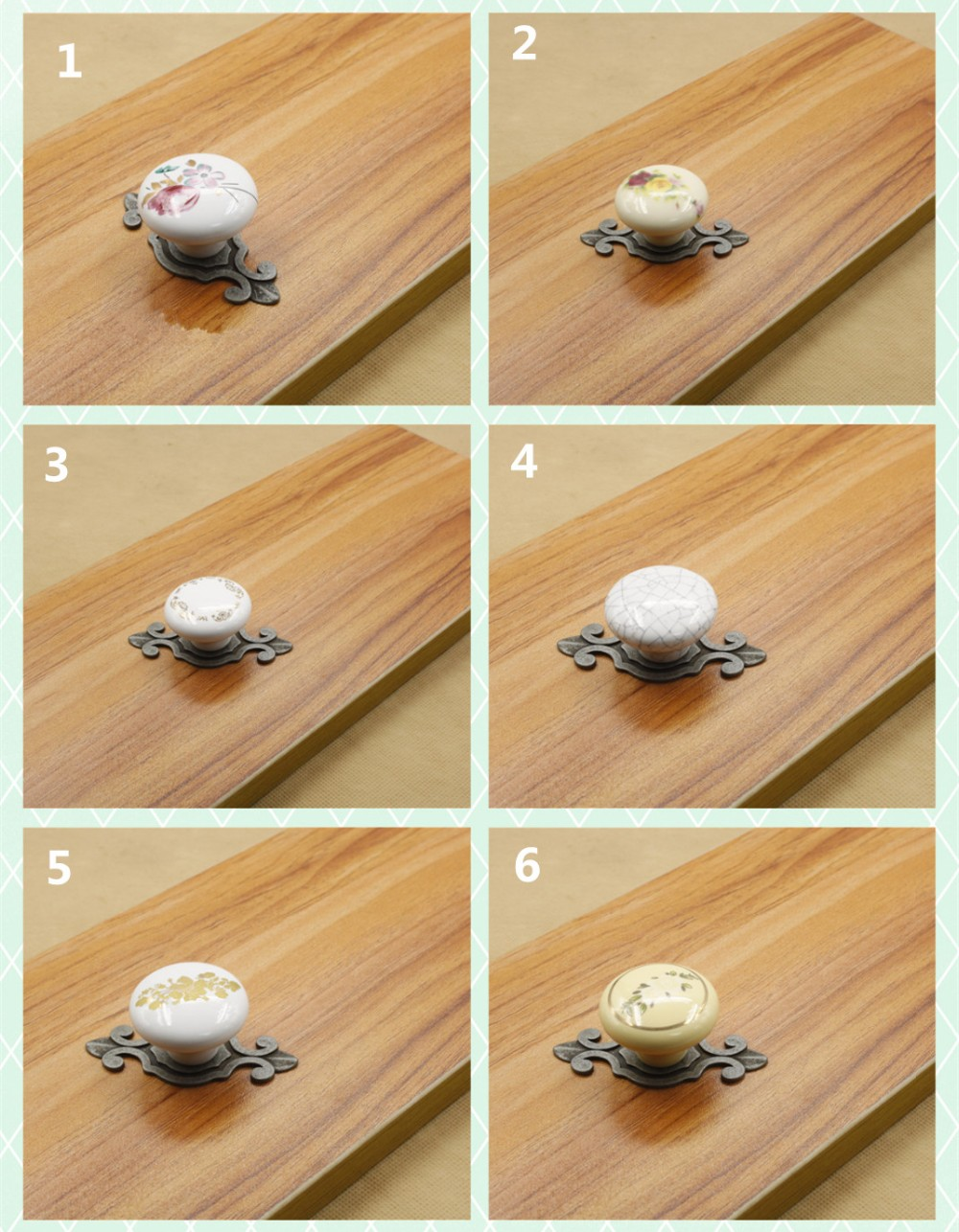 10 pcs/lot - elegant flower crack yellow ceramic single door knob/pull with ancient silver base for cabinet kitchen drawer(China (Mainland))