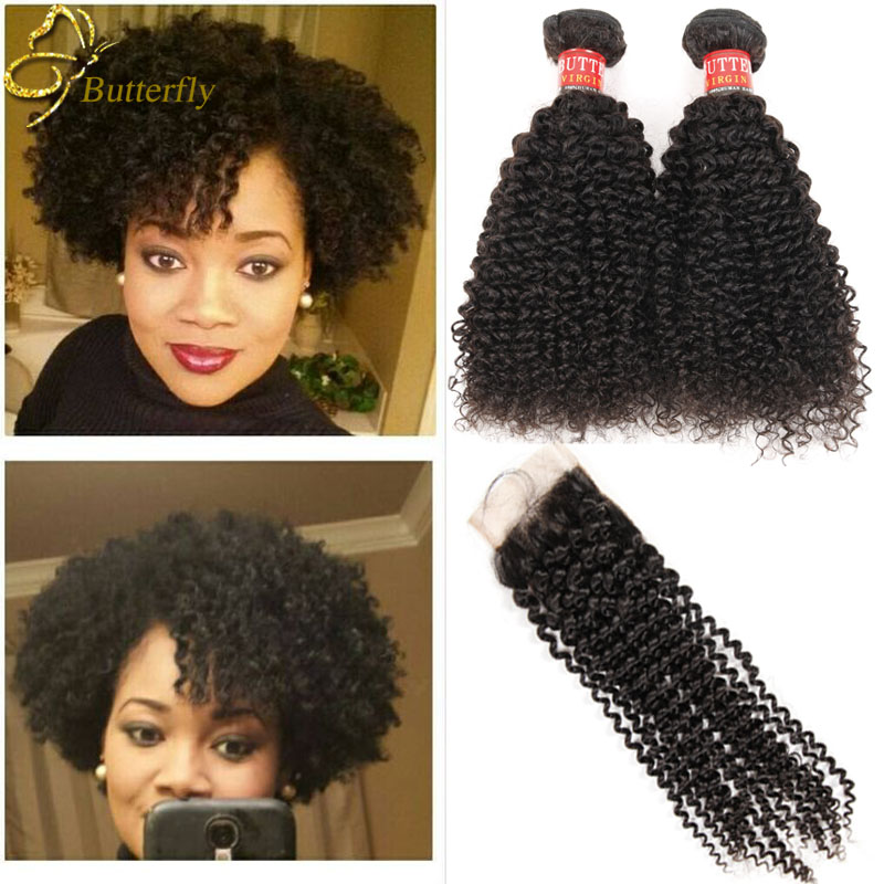 Peruvian Virgin Hair With Closure 3/4 Bundles Afro kinky Curly Hair With Closure Peruvian Wet And Wavy Human Hair With Closure