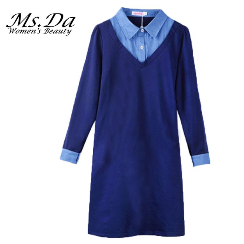 2016 New Casual Dress Women Long Sleeve Vintage Turn-down Jeans Loose Woman Dress Tunics Vestidos Robe Femme Navy Blue Plus Size(China (Mainland))