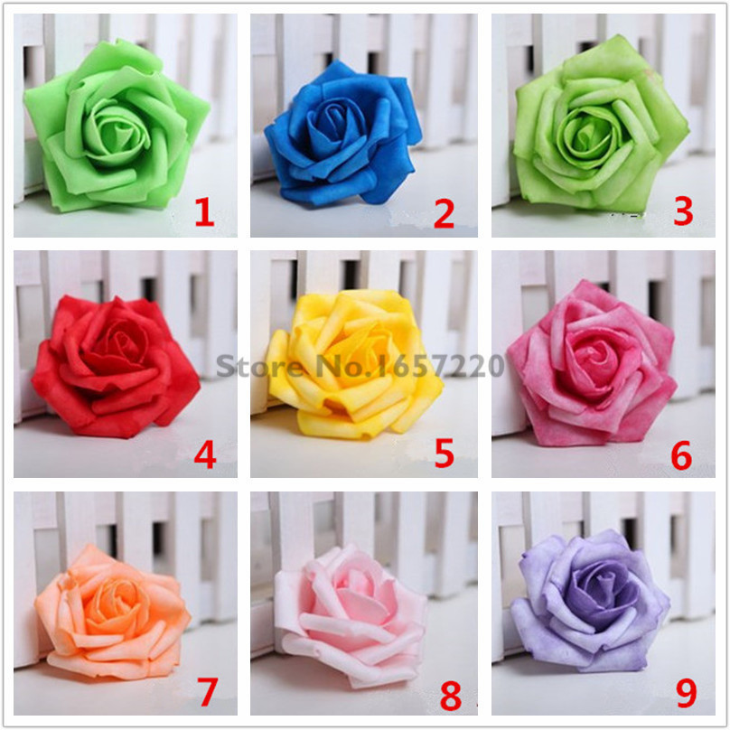 50 Pieces 7CM Red White Artificial Foam Roses Flowers Wedding Decorative Flowers Handmade Rose Flowers Party Decoration Blue V20(China (Mainland))