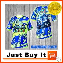 BLUE MOTO GP No.46 Valentino Rossi VR46 Racing Motorcycle Shirt Pure Cotton Perspiration Casual Durable sports Short-sleeved