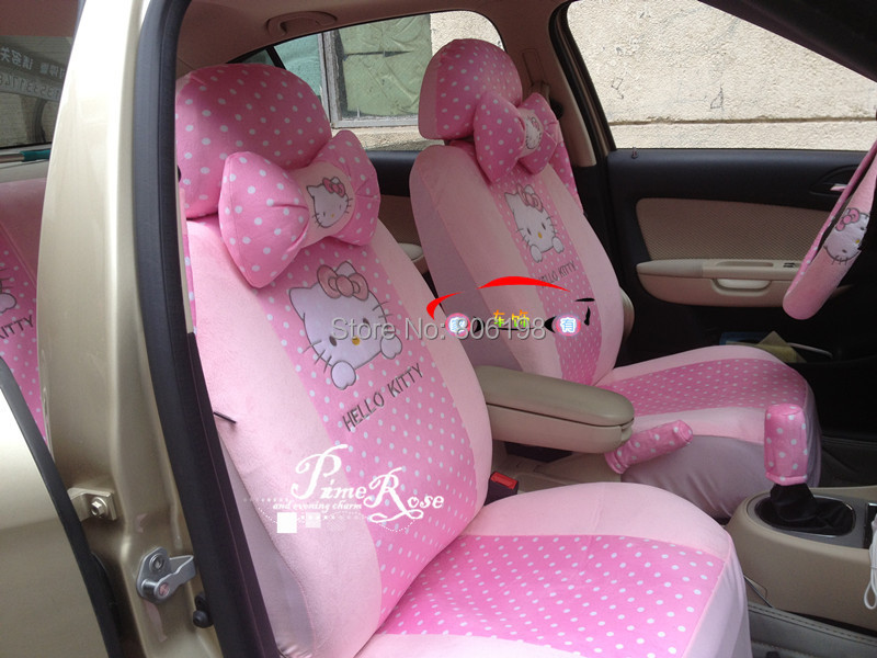1Hello Kitty UNIVERSAL Pink Car Seat Covers Steering Wheel Cover Mirror Bow Pillows - Shenzhen Zhijutianxia Technology Co.,Ltd store