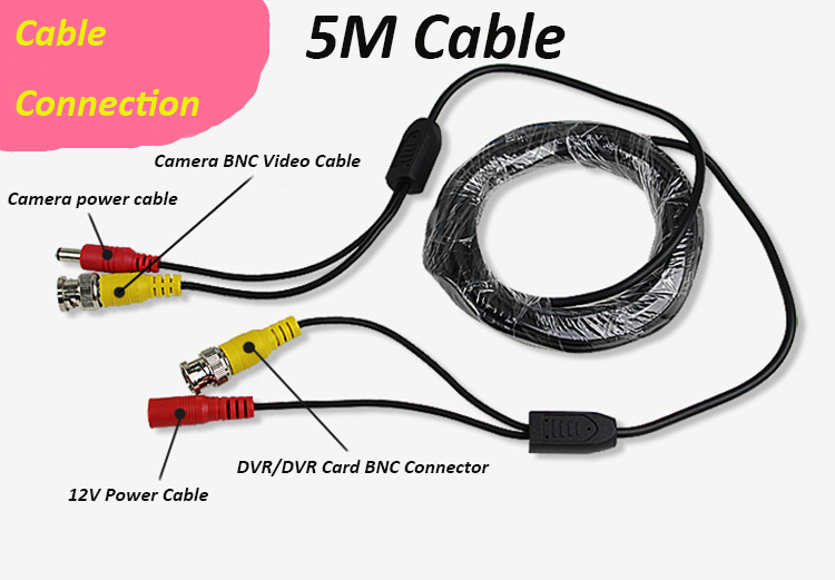 BNC Coaxial Cable 5m CCTV Cable video+power BNC+DC CCTV Camera Cable DVR Cable security installations CCTV Accessory(China (Mainland))