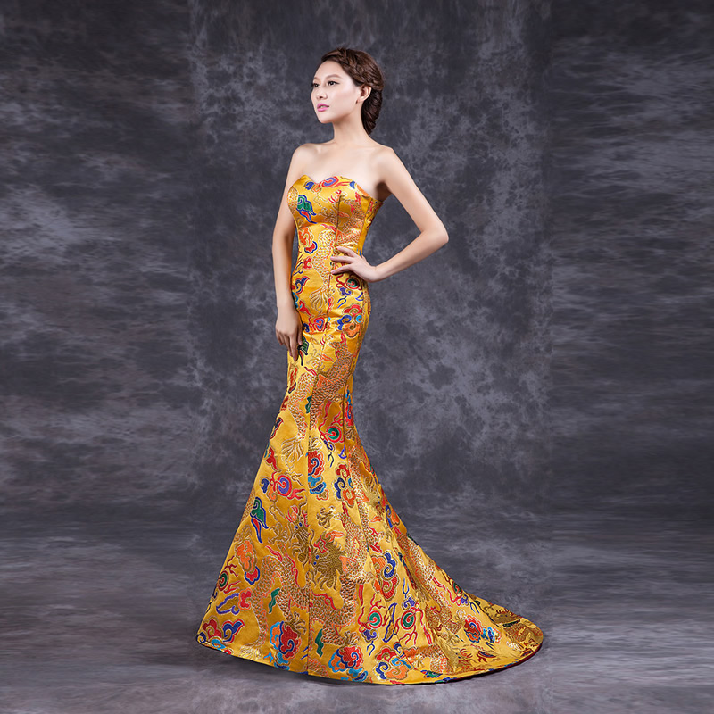 2016 Fashion Yellow Cheongsam Chinese Traditional Dress Long Qipao Evening Gowns China DressesОдежда и ак�е��уары<br><br><br>Aliexpress