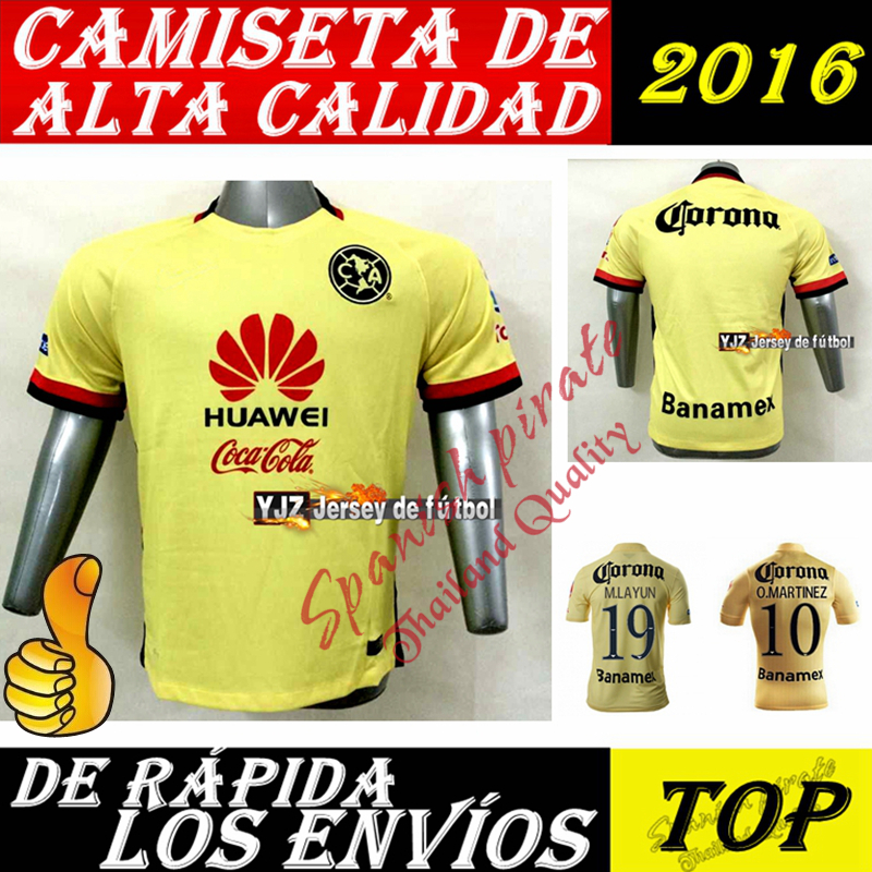 2016 Club America Jersey home YELLOW Raul Sambueza M.LAYUN MICKY ss best quality player version soccer football jersey shirt(China (Mainland))