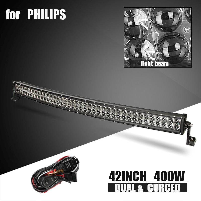 для Philips киоск 42inch 400Вт изогнутое адвокатское сословие Сид светлое 4Д лен внедорожный комбинированный луч света адвокатского сословия трейлера тележки, Привод 4WD, внедорожник ATV вождения авто лампы 12V