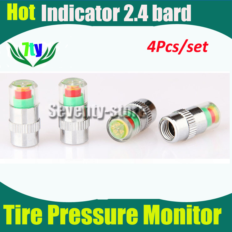 Tire Pressure Monitor Indicator 2.4 bard Valve Stem Cap Sensor Alert Pressure Tester for all car (4pcs/set)(China (Mainland))