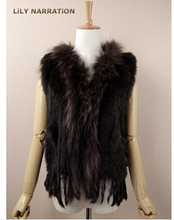 eastern Ladies Genuine Knitted Rabbit Fur Vest Raccoon Fur Trimming Tassels Women Fur Natural Waistcoat Lady Gilet colete pele(China (Mainland))