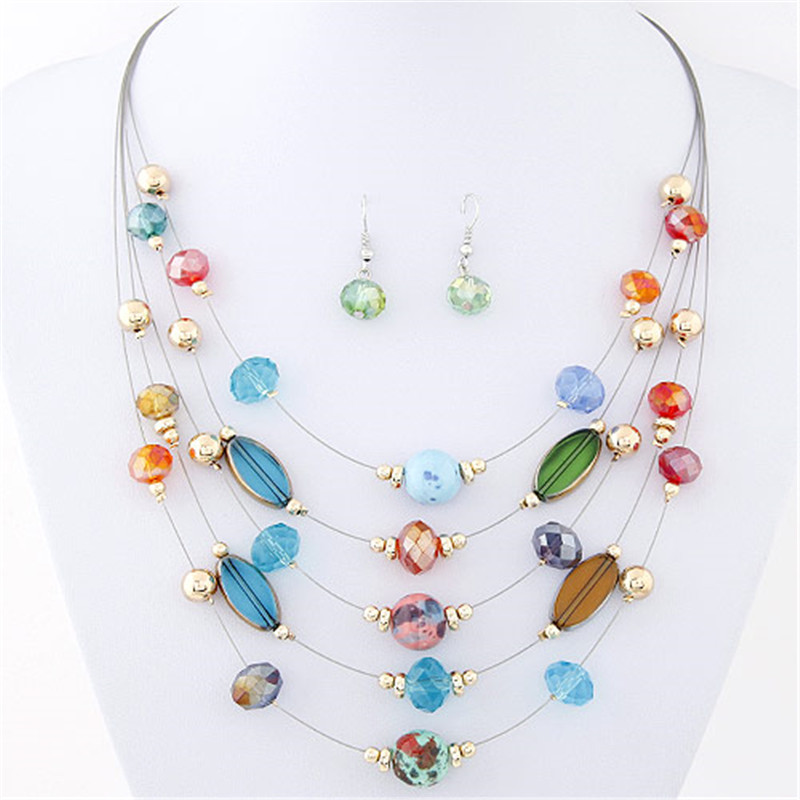 Necklaces Earrings Fashion Jewelry Sets Joker Bohemian Crystal Multilayer Colorful Beads Set - Caier Store store