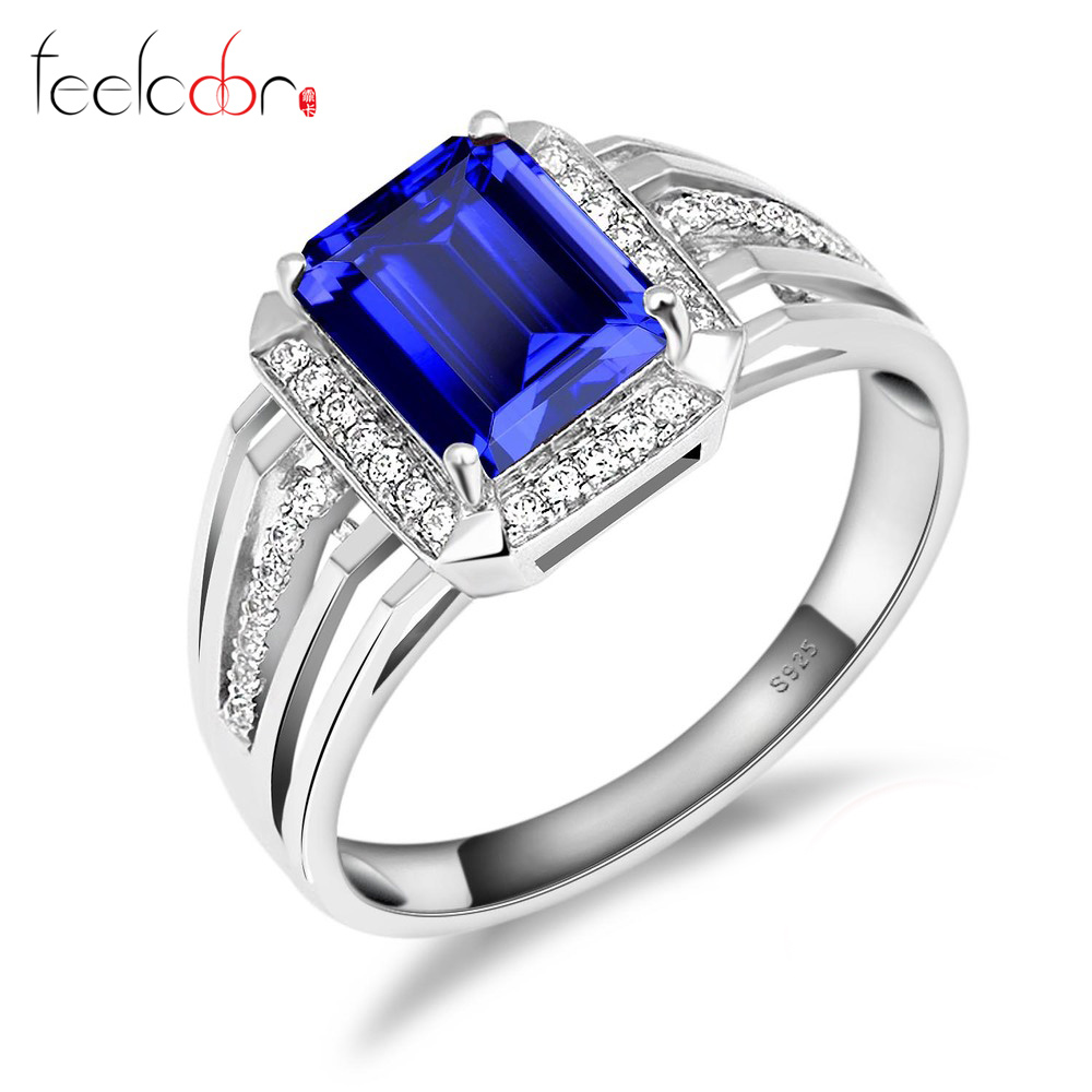 Fashion 4.7ct Blue Sapphire Wedding Engagement Ring Gem Stone Set For Men Genuine 925 Solid Sterling Sliver 2015 Brand New<br><br>Aliexpress