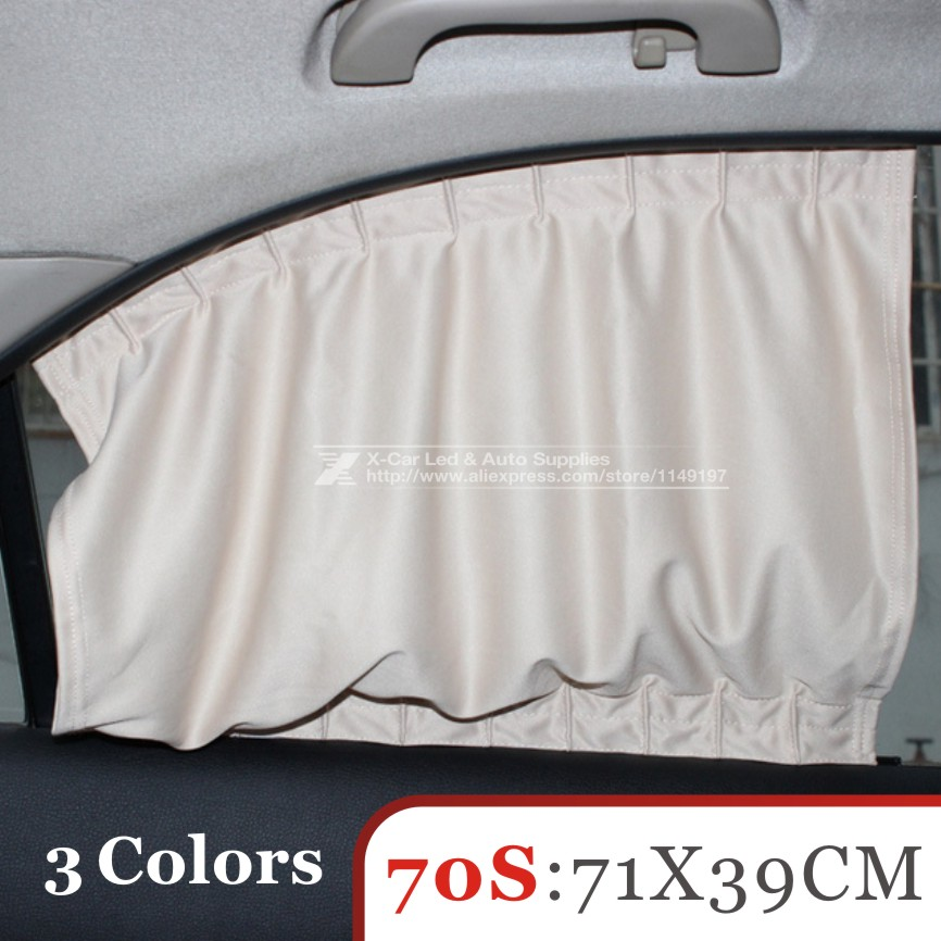 2Pcs/set New Black beige gray  Cotton Fabric Car Auto 70S UV Protection Side Window Curtain Sunshade Set 71 x 39cm freeshipping<br><br>Aliexpress