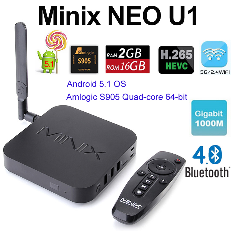 DHL MINIX NEO U1 Android 5.1 TV Box Amlogic S905 Quad Core 2G/16G 2.4/5GHz WiFi H.265 HEVC 4K HD XBMC + Free A2 lite Air Mouse(China (Mainland))