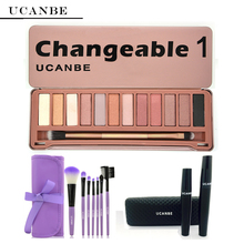 UCANBE Brand Makeup Set Eye 3D Fiber Lashes Waterproof Mascara Purple 7 Pcs Makeup Brushes 12 Colors Naked Eyeshadow Palette(China (Mainland))