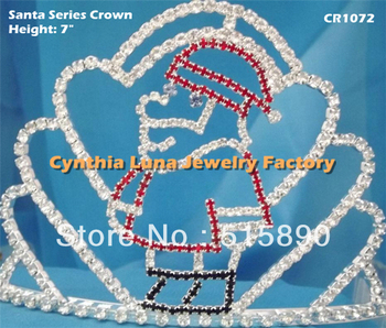 Christmas Santa Crown Prom Pageant Tiara Jewelry Red Hat Santa Claus Head Piece CR1072
