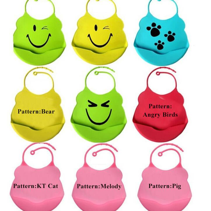 Waterproof Infant Baby Silicone Kid Washable BB Bib Crumb Catcher Fun Characters Waterproof Silica Gel Green Smily face Frog(China (Mainland))