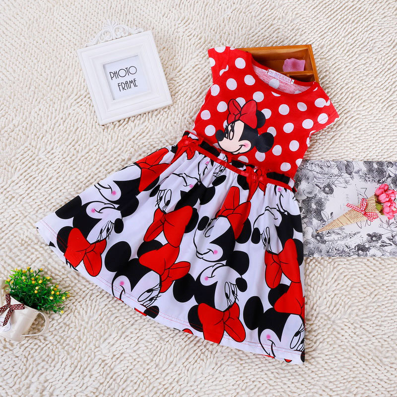 Free Shipping 2015 Baby Girls Kids Cartoon Minnie Dress Christmas Grils Party Dresses Child's clothes Dot Princess Dress BD0006(China (Mainland))