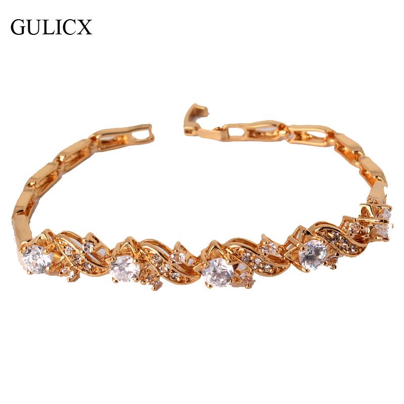 Free Shipping Korean Fashion Charm Bracelets Bangles 24K Yellow Gold Bracelet For Women  Wholesale (GULICX L024.2)<br><br>Aliexpress