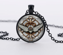 vintage Steampunk clock pendant mechanical gear clock fractal choker necklaces jewelry dome glass cabochon rhinestone necklace(China (Mainland))