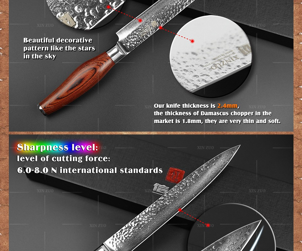"""Buy XINZUO 73 layers 8"""" cleaver knife Japan Damascus steel kitchen knife meat Sashimi knife with Color wood handle free shipping cheap"""