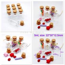 10pcs 5ml Small Glass Mini Bottles Transparent with Cork for Charms Favors Weddings Home Decoration(Hong Kong)