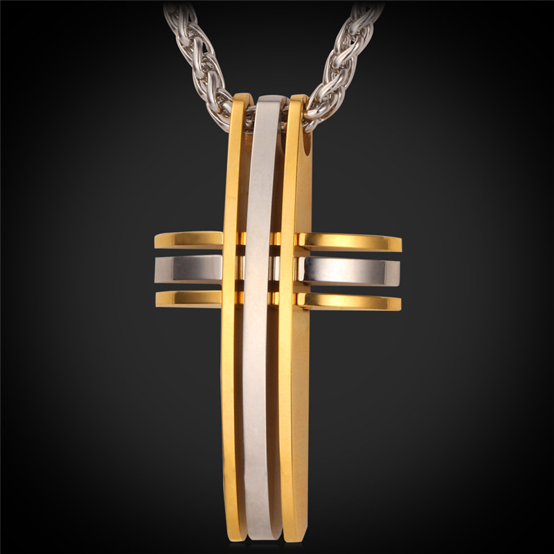Jesus Piece Cross pendant Christian Jewelry wholesale 18K Gold Plated Cross necklace stainless steel necklace Men