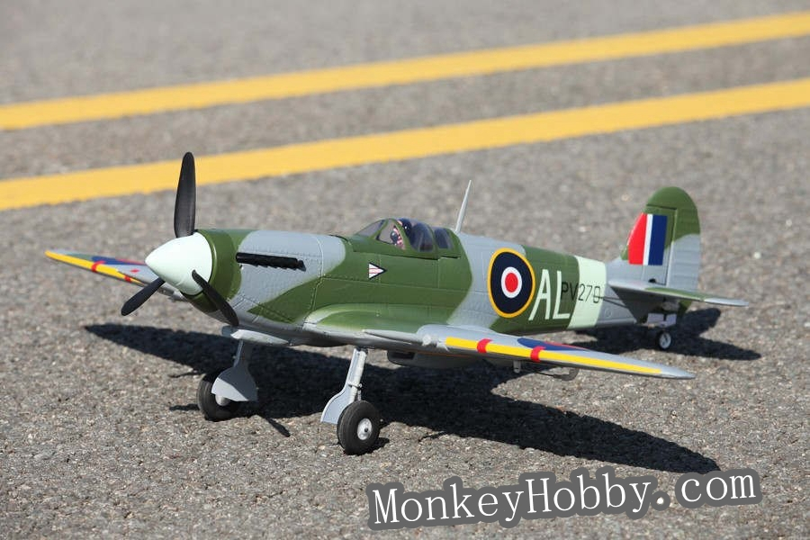 FMS New Mini 800mm / 0.8M Spitfire V2 EPO FMS 3X Stabilization FMS021-3X RC warbird airplane (RTF), No battery