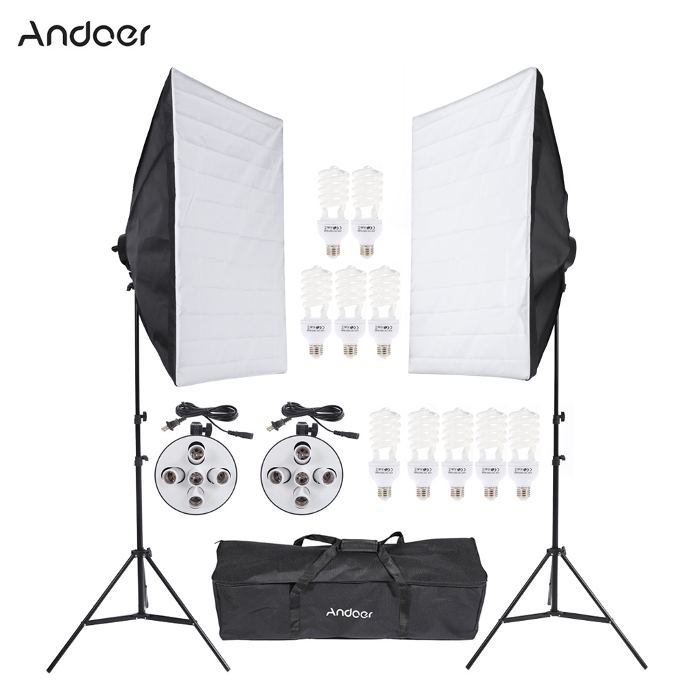 DE US STOCK Professional Photo Studio Lighting Kit Video Equipment With Softbox Light Socket 45W Bulb Tripod Stand Carrying Bag(China (Mainland))