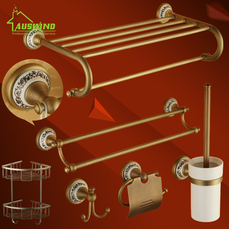 Antique Brass Brushed Bath Hardware Sets Porcelain Base Bronze Bathroom Accessory Wall Mounted Bathroom Products(China (Mainland))