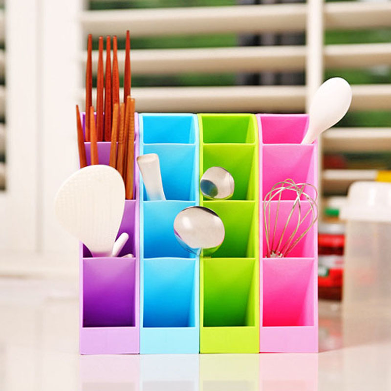 1pc Storage Boxes Multi-functional creative Home Organization tool Plastic desk makeup Cosmetics Storage Bins candy color,LB1514(China (Mainland))