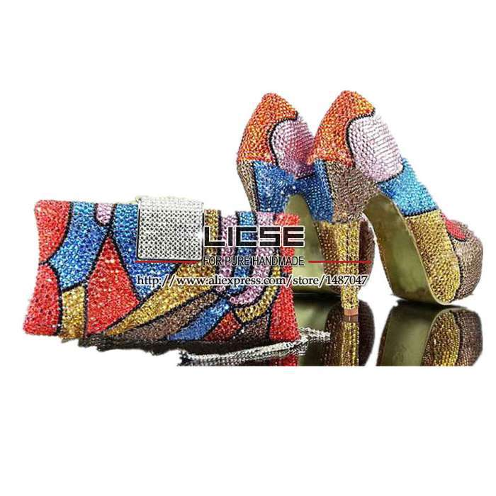 Red Bottom High Heels Italian Shoes And Bags Set Blue Rhinestone Shoes Discount Multi Color Closed Toe Beautiful Bridal Shoes(China (Mainland))